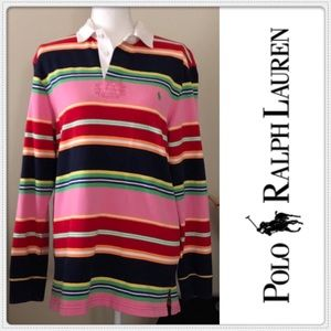🔥🌟VINTAGE MENS STRIPED POLO by: RALPH LAUREN